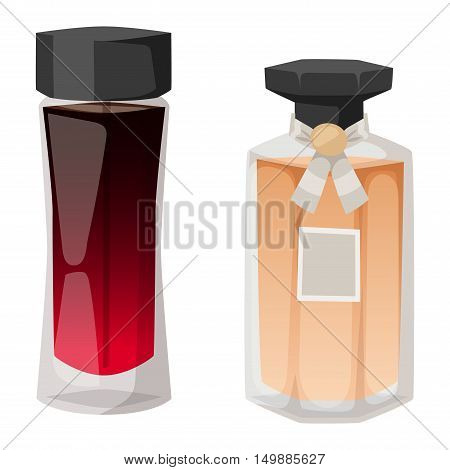 Vector perfume fashion container smell spray bottle template. Vector illustration perfume shop symbols elegant merchandise gift. Beauty liquid luxury fragrance aroma perfume bottle template