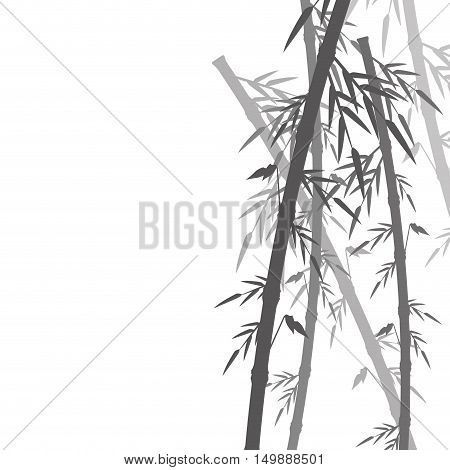 Bamboo trunk with leaves icon. Nature plant decoration and asia theme. Silhouette design. Vector illustration
