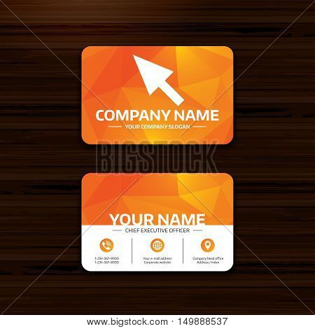 Business or visiting card template. Mouse cursor sign icon. Pointer symbol. Phone, globe and pointer icons. Vector