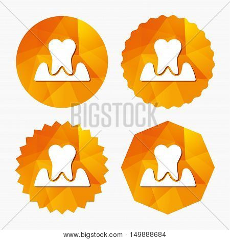 Parodontosis tooth icon. Gingivitis sign. Inflammation of gums symbol. Triangular low poly buttons with flat icon. Vector