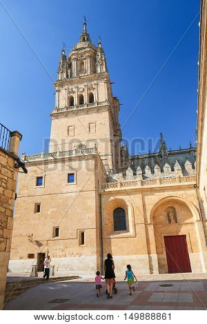 SALAMANCA SPAIN - AUGUST 2 2016: Tower of the New Cathedral of Salamanca Spain.