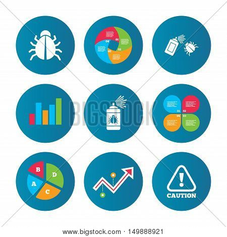 Business pie chart. Growth curve. Presentation buttons. Bug disinfection icons. Caution attention symbol. Insect fumigation spray sign. Data analysis. Vector