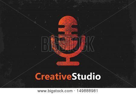 microphone logo. music studio logo design. creative studio