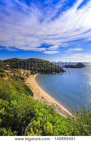 Elba island Innamorata beach and Gemini islets view Capoliveri Tuscany Italy Europe.
