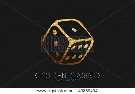 Golden Casino logo. Dice logo. Casino club poster