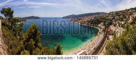 Panorama Bay of Villefranche Sur Mer and Cap Ferrat in the Alpes Maritimes department in the Provence Alpes Cote d'Azur region on the French Riviera