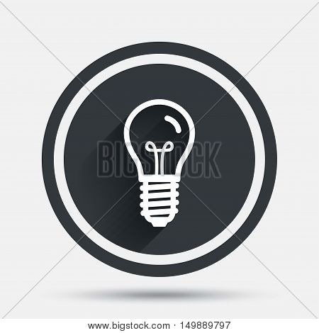 Light bulb icon. Lamp E14 screw socket symbol. Illumination sign. Circle flat button with shadow and border. Vector