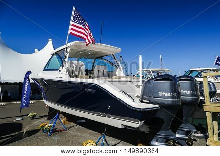 NORWALK- SEPTEMBER 25: DC 325 Pursuit boat with Yamaha engines exhibit at Norwalk boat show  in Norwalk, USA on September 25, 2016