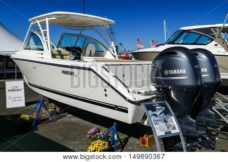 NORWALK- SEPTEMBER 25: DC 265 Pursuit boat with Yamaha engines exhibit at Norwalk boat show  in Norwalk, USA on September 25, 2016
