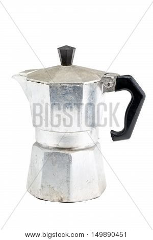 Used stovetop espresso maker over white background
