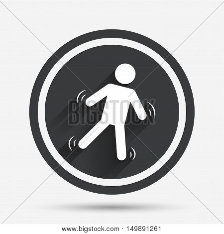 Man falls sign icon. Falling down human symbol. Caution slippery. Circle flat button with shadow and border. Vector