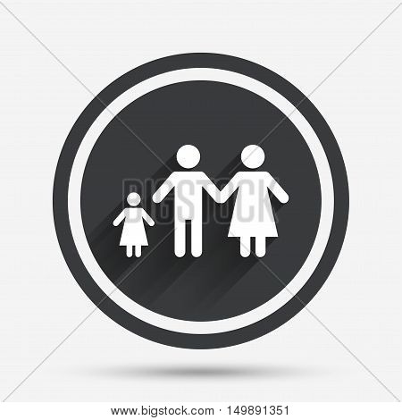 Family with one child sign icon. Complete family symbol. Circle flat button with shadow and border. Vector