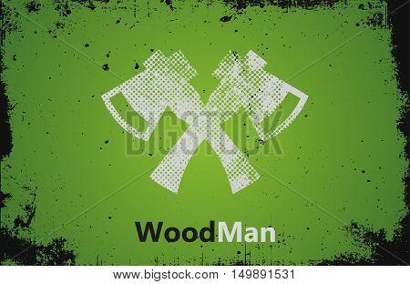 Lumberjack logo. Woodman logo. Axes logo design