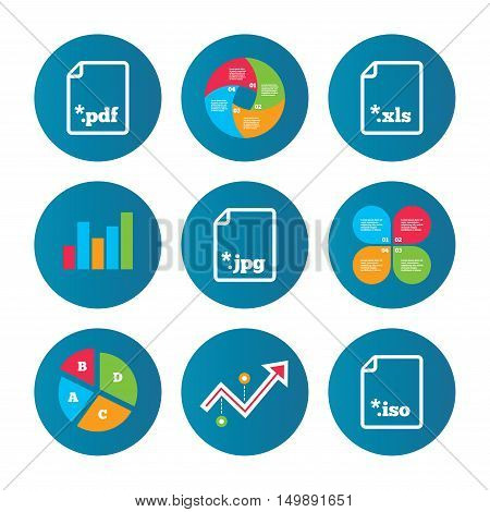 Business pie chart. Growth curve. Presentation buttons. Download document icons. File extensions symbols. PDF, XLS, JPG and ISO virtual drive signs. Data analysis. Vector