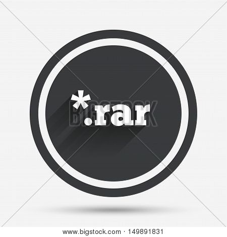 Archive file icon. Download compressed file button. RAR zipped file extension symbol. Circle flat button with shadow and border. Vector