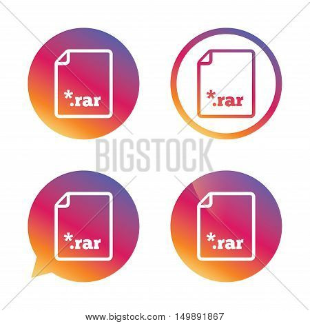 Archive file icon. Download compressed file button. RAR zipped file extension symbol. Gradient buttons with flat icon. Speech bubble sign. Vector