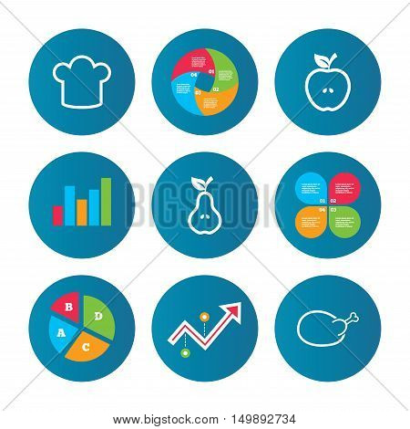 Business pie chart. Growth curve. Presentation buttons. Food icons. Apple and Pear fruits with leaf symbol. Chicken hen bird meat sign. Chef hat icons. Data analysis. Vector