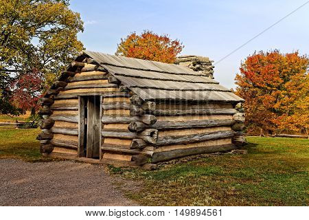 Reproduction of cabins used by Revolutionary War soldiers during the winter of 1777-78 under the command of George Washington. Located in Valley Forge National Historical Park Pennsylvania USA