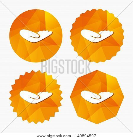 Donation hand sign icon. Charity or endowment symbol. Human helping hand palm. Triangular low poly buttons with flat icon. Vector
