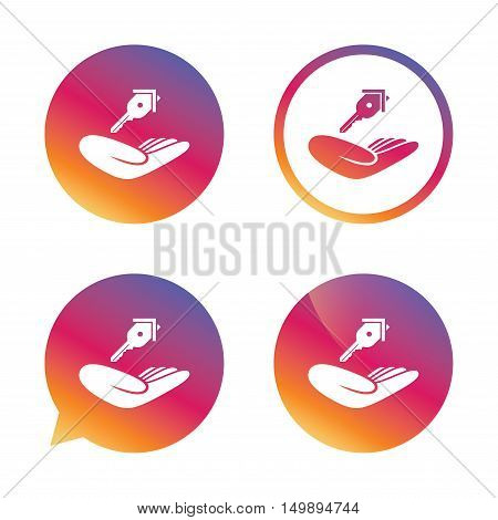 House insurance sign. Hand holds home key symbol. Insurance of property. Gradient buttons with flat icon. Speech bubble sign. Vector