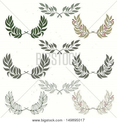 Set of wreath hand drawn vector illustration. Design elements for invitations, greeting cards, quotes, blogs, posters and wedding frames. Holliday design