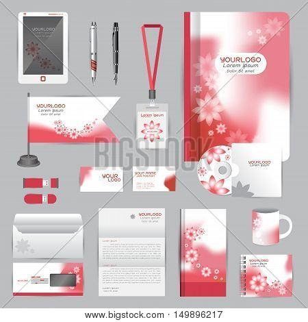 White identity template with red Flower origami elements. Vector company style for brandbook guideline and Pens mugs CDs books business cards letterhead flag Card Portfolio employees Tablet