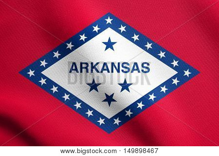 Arkansan official flag symbol. American patriotic element. USA banner. United States of America background. Flag of the US state of Arkansas waving in the wind with detailed fabric texture, illustration
