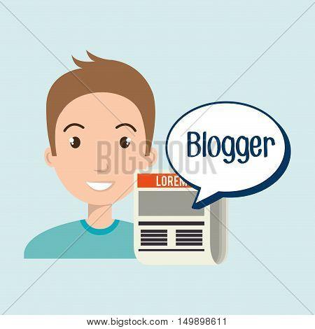 man cartoon blogger web vector illustration eps 10