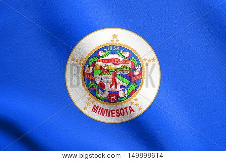 Minnesotan official flag symbol. American patriotic element. USA banner. United States of America background. Flag of the US state of Minnesota waving in the wind with detailed fabric texture, illustration