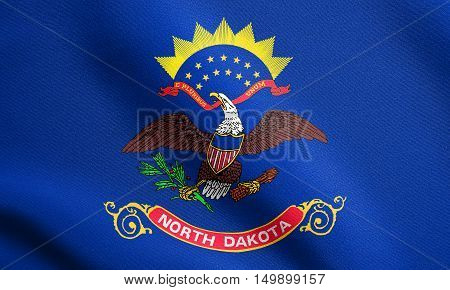 North Dakotan official flag symbol. American patriotic element. USA banner. United States of America background. Flag of the US state of North Dakota waving in the wind with detailed fabric texture, illustration