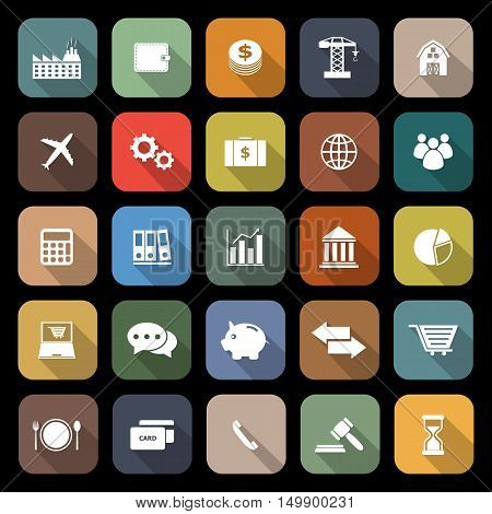 Economy flat icons with long shadow, stock vector