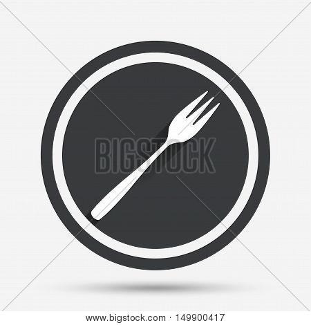 Eat sign icon. Cutlery symbol. Diagonal dessert trident fork. Circle flat button with shadow and border. Vector