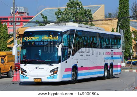 CHIANGMAI, THAILAND - APRIL 11 2012:   Scania Super long 15 meter bus of Sombattour company. route Bangkok and Chiangmai. Photo at New Chiangmai bus station, thailand.