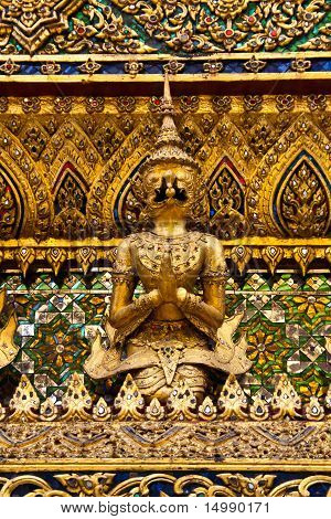 Golden Garuda statues at Wat Phra Kaew