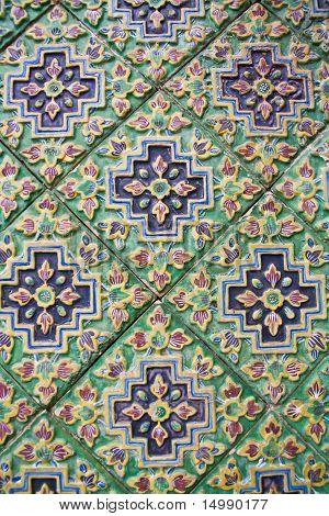 Thai pattern design on the wall at Wat Phra Kaew