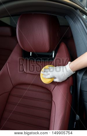Car detailing series : Cleaning red car seat