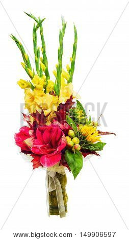 Colorful bouquet of amaryllis, gladioli, sunflowers, fruits and other flowers arrangement centerpiece isolated on white background.