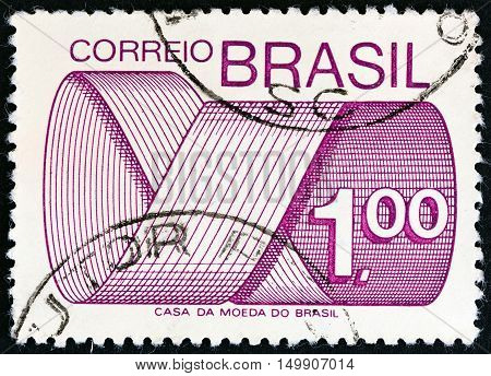 BRAZIL - CIRCA 1974: A stamp printed in Brazil shows Mark Post and Emblem, circa 1974.