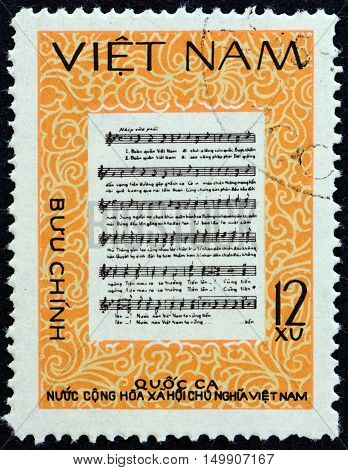 VIETNAM - CIRCA 1980: A stamp printed in North Vietnam shows National Anthem, circa 1980.