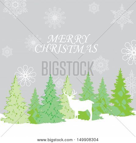 vector illustration of Christmas background with reindeer