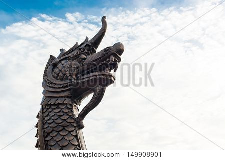 King of naga thai serpent with blue sky