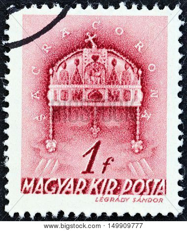 HUNGARY - CIRCA 1939: A stamp printed in Hungary shows Crown of St. Stephen, circa 1939.