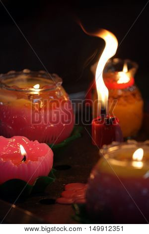 Candles With A Soft Background ..