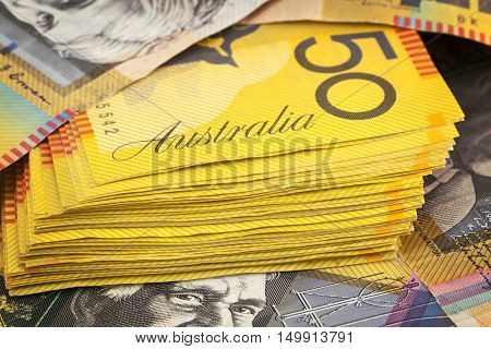 Australian money background.  Fifty dollar notes.