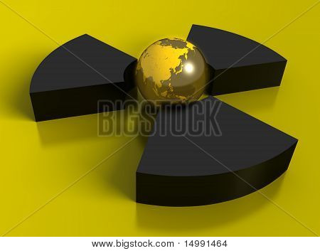 3D radioactivity symbol