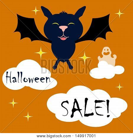 Square vector illustration with bat and ghost for Halloween holiday. Happy Halloween vector for card event invitation sale banner template. Cute cartoon character. Square image of Halloween night