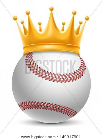 Baseball Ball in Golden Royal Crown. Concept of success in baseball sport. Baseball - king of sport. Realistic Stock Vector Illustration. Isolated on White Background.