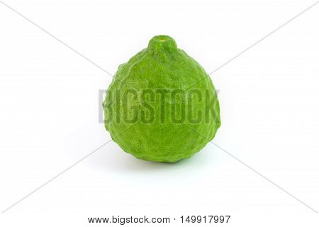 Kaffir lime isolated on white makrut lime Mauritius papeda