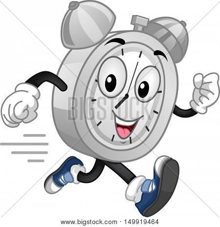 Mascot Illustration of an Energetic Analog Alarm Clock Running at Full Speed