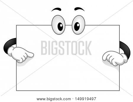Mascot Illustration of a Blank White Board with Googly Eyes Pointing to its Surface